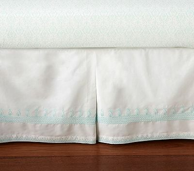 NEW POTTERY BARN KIDS Claire Embroidered White Teal Baby Girl Crib Skirt --- $79