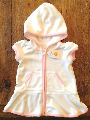 Gymboree 3-6 Months Swim Beach Cover-Up Hooded Terry Pink White Zip Girls New
