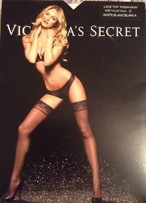NWT Victorias Secret Lace Top Thigh High Stockings White size C
