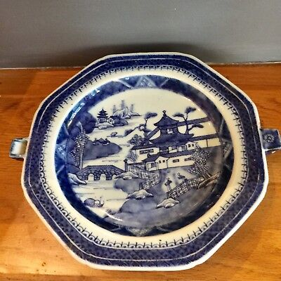 ANTIQUE 19Th C CHINESE EXPORT CANTON BLUE & WHITE HOT WATER PLATE - WARMING TRAY