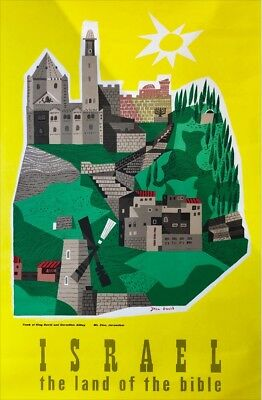VINTAGE ISRAEL Travel Poster MT ZION Town Windmill Land of the Bible Jean David