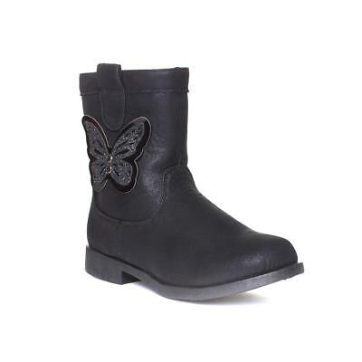 Buckle My Shoe Girls Black Butterfly Calf Boot - Sizes 7,8,9,10,11,12,13,1,2