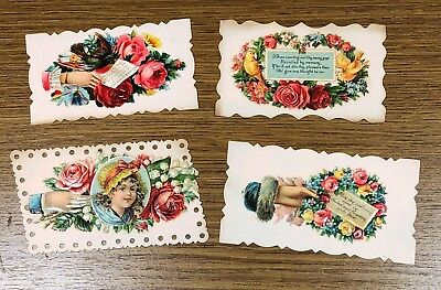 Four Original Victorian Calling Cards with Die Cut Tops Antique Ephemera #1
