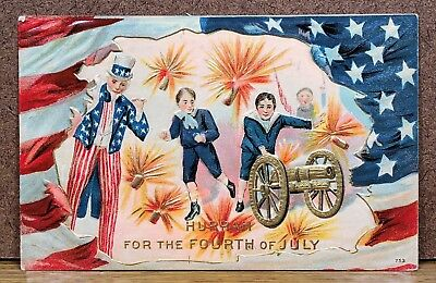 Patriotic July 4th Fourth Uncle Sam Canon American Flag Antique Postcard PC View