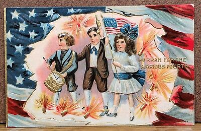 Patriotic July 4th Fourth American Flag Children March Antique Postcard PC View