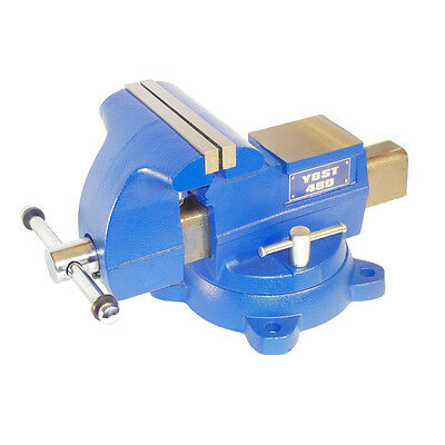 Heavy Duty Blue 8-in Cast Iron Large Work Surface Swivel Base Utility Bench Vise
