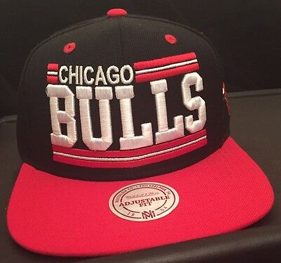 Mitchell and Ness NBA Chicago Bulls Snapback Cap/Hat Black/Red/White New