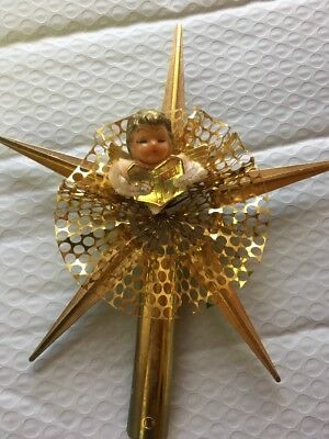 Vintage Christmas Tree Topper Top Angel Star Noel