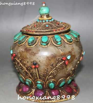 Old Chinese Bronze Crystal Turquoise Coral Inlay Gem Pot Jar Crock Vase Statue