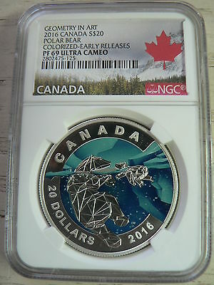 Canada 20 Dollars 2016 Art Polar Bear Colorized Ngc Pf69 Ultra Cameo Fine Silver