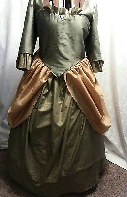 "Ladies XXLG Gold & Green Colonial Gown / Dress B/ 46"" W/ 44"", 110"" around at hem"
