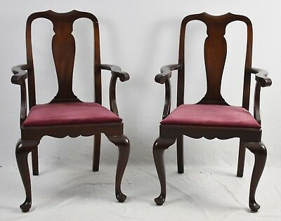 Pair HENKEL HARRIS Mahogany Queen Anne Dining Room Arm Chairs - Style No. 109A