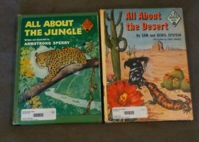 Lot of 2 Vintage 50s, All About Books - Jungle, Desert, Armstrong Sperry, ex-lib