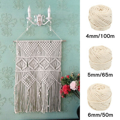 4/5/6mm Macrame Rope Natural Beige Cotton Twisted Cord Artisan Hand Craft 000