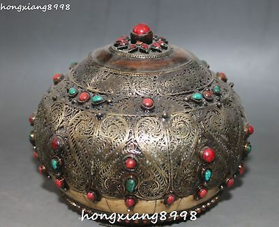Old Collection Chinese Bronze Turquoise Coral Gem Pot Jar Crock Cylinder Statue