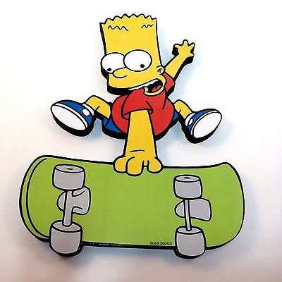 Bart Simpson on Skateboard Wall Plaque Licensed 2000 The Simpsons Decor