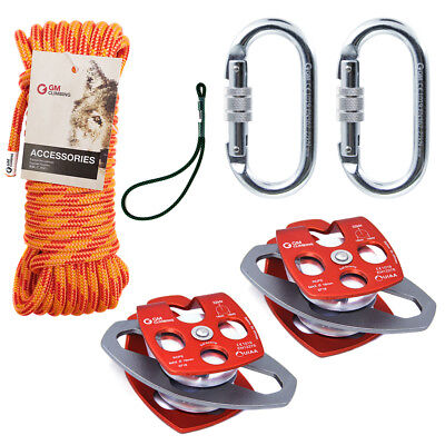 32kN Twin Sheaves Pulley Rigging Line Block and Tackle System Climbing Arborist