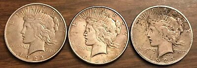 Lot of 3 - $1 Silver Peace Dollars, 1922-D, 1923-S, and 1924-S
