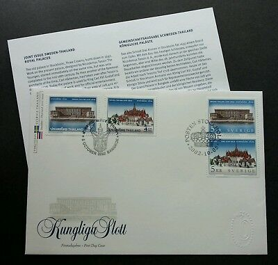 Sweden Thailand Joint Issue Royal Palace 2002 (joint FDC *dual cancellation Rare