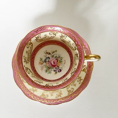 Vintage Royal Albert Pink Rose Gold Gilt Teacup Tea Cup Saucer Set Bone China