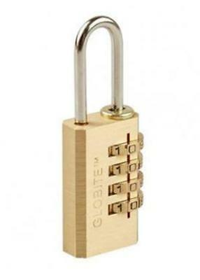 GLOBITE  Combo 4 Dial Luggage Security BRASS Padlock NOT IN PACKET