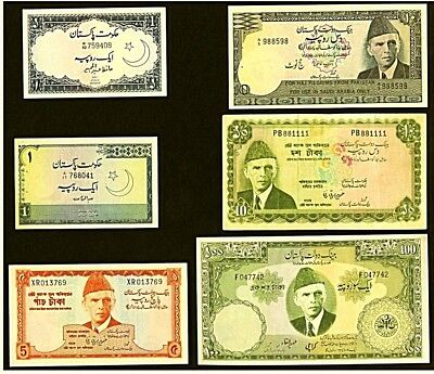 PAKISTAN | 1,5,10,100 Rupees | 1953-78 | 6 Notes including Haj issue | XF/AU