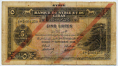 Syria and Lebanon 5 pounds 1939 Pick #41c