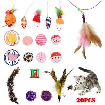 19Pcs Kitten Pet Cat Ball Chew Catnip Toys Play Interactive Game Mouse Toy AU