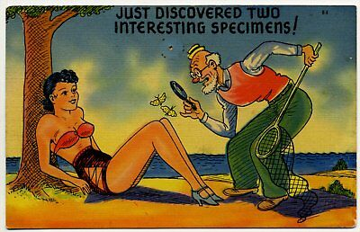 Postcard Risque Comic Young Lady Old Man 1930's  A-04