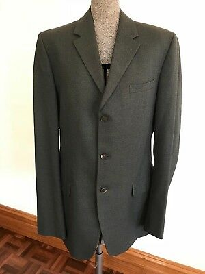 Vintage Mens Fletcher Jones grey blue pure wool suit jacket blazer