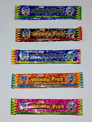 30 pieces Wicked Fizz Sherbet Assorted Flavour Chewy Bars. (30 x 12g).