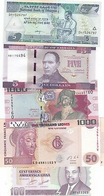 Africa Nice Lot Of 5 Different Uncirculated Banknotes,(S)