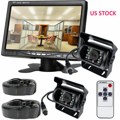 """For RV Truck Bus Van IR Rear View Back up Camera Night View System+7"""" Monitor US"""