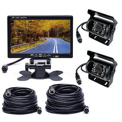 """7"""" Monitor+2 X Wired Rear View Backup Camera Night View Fr RV Bus+2PC 33Ft cable"""