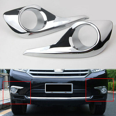 Chrome ABS Front Hood Fog Light Lamp Cover Trim  For Toyota Highlander 2011-2013