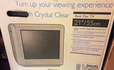 PHILIPS FERNSEHER CRYSTAL CLEAR Real Flat TV 21 Zoll 55 Cm OVP