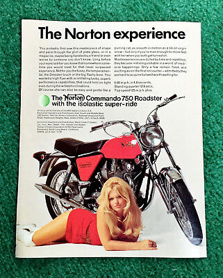 Orig 1971 Norton Pin-Up Motorcycle Magazine Ad Commando 750 Roadster Poster?