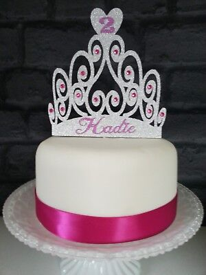 Personalised Princess Crown Tiara Birthday Cake Glitter Card Topper Any Name Age