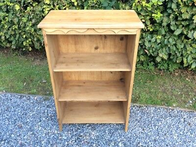 Small  Solid Victorian 3 Tier Pine Bookcase with slight applied decoration