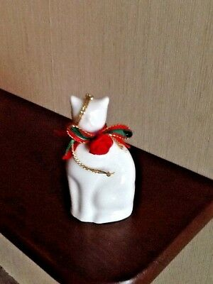 White Cat Ornament Porcelain With Red Ribbon