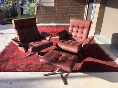 Danish 1970s Ebbe Gehl Vintage High Back Buffalo Leather Chairs Midcentry