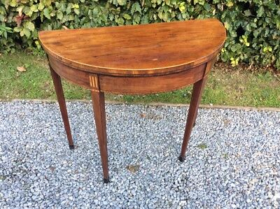 Georgian Sheraton Style  Inlaid Mahogany Demi Lune Fold Over Card Table