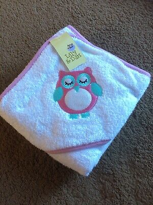BNWT. Lily & Dan Hooded Towel And Bath Mitt. Pink With Owl Design.
