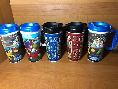 5 Disney Parks Tall Plastic Travel 16oz Cup Mugs Blue Black Lot Of 5