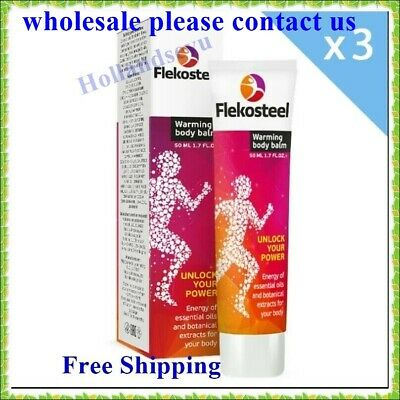 3 Pcs FLEKOSTEEL WARMING BODY BALM for muscle joints high loads 50ml Free Ship