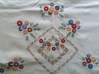 ANTIQUE Vintage Handmade Embroidery Linen Tablecloth White Pretty Spring Flowers