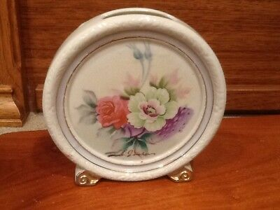 "Vintage Porcelain Japan Floral Wall Pocket 5.5"" stand or hang HAND PAINTED"