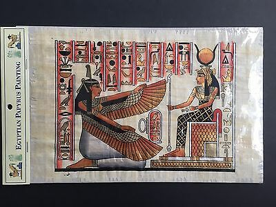 Hand Painted Egyptian Art on Papyrus Paper Ancient Egypt Painting Ma'at & Isis