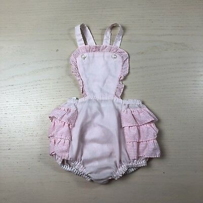Vintage Pink Gingham Ruffle Sunsuit 24 Months Romper Playsuit
