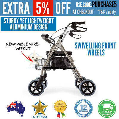 Foldable 4 Wheel Walker Walking Frame Rollator Elderly Mobility Aid